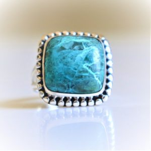 Shop Azurite Rings! Azurite Ring, 925 Sterling Silver Ring, Natural Azurite, Azurite malachite Ring, Natural Gemstone, Azurite Shattuckite Ring, Christmas gift,   Natural genuine Azurite rings, simple unique handcrafted gemstone rings. #rings #jewelry #shopping #gift #handmade #fashion #style #affiliate #ad