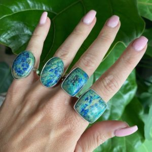 Shop Azurite Rings! Azurite adjustable ring, azurite, silver ring   Natural genuine Azurite rings, simple unique handcrafted gemstone rings. #rings #jewelry #shopping #gift #handmade #fashion #style #affiliate #ad