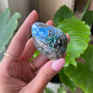 Shop Azurite Shapes! Azurite in Barite palm stone. NEW FIND   Natural genuine stones & crystals in various shapes & sizes. Buy raw cut, tumbled, or polished gemstones for making jewelry or crystal healing energy vibration raising reiki stones. #crystals #gemstones #crystalhealing #crystalsandgemstones #energyhealing #affiliate #ad