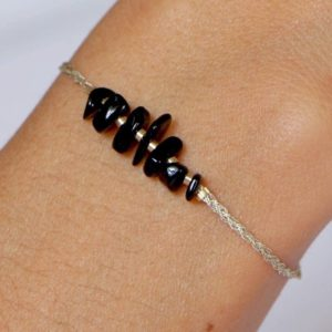 Shop Black Tourmaline Bracelets! Black Tourmaline bracelet in gold cotton thread and gold-filled gold 14 carats – Boho ChiC | Natural genuine Black Tourmaline bracelets. Buy crystal jewelry, handmade handcrafted artisan jewelry for women.  Unique handmade gift ideas. #jewelry #beadedbracelets #beadedjewelry #gift #shopping #handmadejewelry #fashion #style #product #bracelets #affiliate #ad