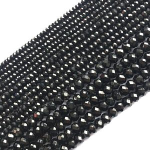 Shop Black Tourmaline Faceted Beads! Black Tourmaline Natural Gemstone Bead Faceted Rondelle 15''l | Natural genuine faceted Black Tourmaline beads for beading and jewelry making.  #jewelry #beads #beadedjewelry #diyjewelry #jewelrymaking #beadstore #beading #affiliate #ad
