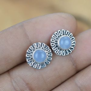 Shop Blue Chalcedony Earrings! Blue Chalcedony 925 Sterling Silver Gemstone Stud Earring | Natural genuine Blue Chalcedony earrings. Buy crystal jewelry, handmade handcrafted artisan jewelry for women.  Unique handmade gift ideas. #jewelry #beadedearrings #beadedjewelry #gift #shopping #handmadejewelry #fashion #style #product #earrings #affiliate #ad