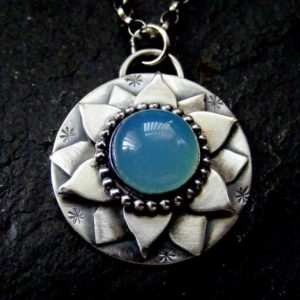 Silver Lotus Flower Pendant With Blue Chalcedony Necklace Silver Water Lily Pendant | Natural genuine Blue Chalcedony pendants. Buy crystal jewelry, handmade handcrafted artisan jewelry for women.  Unique handmade gift ideas. #jewelry #beadedpendants #beadedjewelry #gift #shopping #handmadejewelry #fashion #style #product #pendants #affiliate #ad