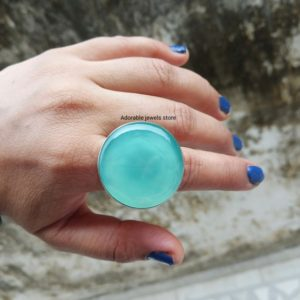 Shop Blue Chalcedony Rings! Aqua Chalcedony Ring,925 Sterling Silver,Excellent Quality Chalcedony,natural gemstone statement ring,Blue chalcedony Halloween ring | Natural genuine Blue Chalcedony rings, simple unique handcrafted gemstone rings. #rings #jewelry #shopping #gift #handmade #fashion #style #affiliate #ad