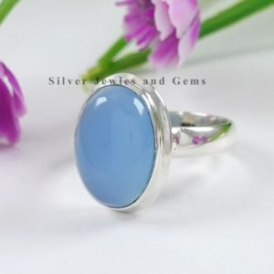 Shop Blue Chalcedony Rings! Natural Blue Chalcedony Ring, 925 Sterling Silver Ring, Oval Chalcedony Ring, Handmade Silver Ring, Promise Ring, Sagittarius Birthstone | Natural genuine Blue Chalcedony rings, simple unique handcrafted gemstone rings. #rings #jewelry #shopping #gift #handmade #fashion #style #affiliate #ad