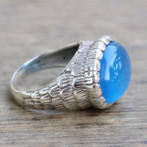 Shop Blue Chalcedony Rings! Blue Chalcedony Rings, Statement Rings, Blue Gemstone Rings, Gift For Her, Couple Rings, Sterling Silver Jewelry, Unisex Rings, Mens Ring | Natural genuine Blue Chalcedony mens fashion rings, simple unique handcrafted gemstone men's rings, gifts for men. Anillos hombre. #rings #jewelry #crystaljewelry #gemstonejewelry #handmadejewelry #affiliate #ad
