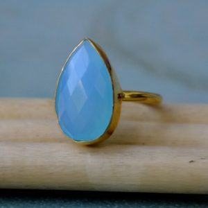 Rose Cut Blue Chalcedony Gemstone Ring, Sterling Silver Yellow Plated, Rose Gold Plated Gold Ring, Pear Blue Chalcedony Gift Ring   Natural genuine Gemstone rings, simple unique handcrafted gemstone rings. #rings #jewelry #shopping #gift #handmade #fashion #style #affiliate #ad