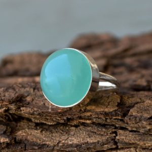 Shop Blue Chalcedony Rings! Sea Foam Green Blue Chalcedony Ring, Bezel Set Ring, Round Cab Chalcedony Ring,Gemstone Ring, Large Chalcedony Ring, Silver Chalcedony Ring | Natural genuine Blue Chalcedony rings, simple unique handcrafted gemstone rings. #rings #jewelry #shopping #gift #handmade #fashion #style #affiliate #ad