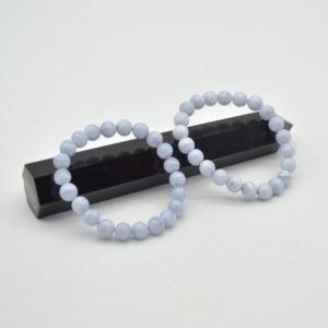 """Shop Blue Lace Agate Bracelets! Natural Blue Lace Agate Semi-precious Gemstone Round Beads Sample Strand / Bracelet – 8mm, Approx 7.5"""" 
