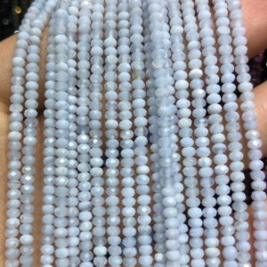 Shop Blue Lace Agate Faceted Beads! Blue Lace Agate Faceted Beads, Natural Gemstone Beads,  Light Blue Nice Cut Rondelle Stone Beads 2x3mm 15''   Natural genuine faceted Blue Lace Agate beads for beading and jewelry making.  #jewelry #beads #beadedjewelry #diyjewelry #jewelrymaking #beadstore #beading #affiliate #ad
