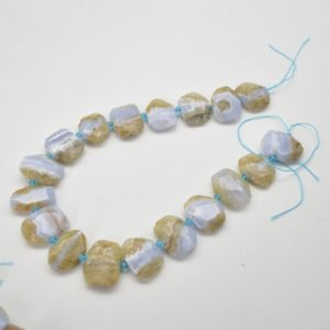 """Shop Blue Lace Agate Faceted Beads! High Quality Grade A Natural Blue Lace Agate Semi-precious Gemstone Faceted Side Drilled Rectangle Pendant / Beads – approx 15.5"""" strand   Natural genuine faceted Blue Lace Agate beads for beading and jewelry making.  #jewelry #beads #beadedjewelry #diyjewelry #jewelrymaking #beadstore #beading #affiliate #ad"""