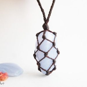 Shop Blue Lace Agate Necklaces! Blue lace agate, blue lace agate necklace, baby blue, sky blue, heart chakra, blue necklace, hipster, bohemian, crystal therapy | Natural genuine Blue Lace Agate necklaces. Buy crystal jewelry, handmade handcrafted artisan jewelry for women.  Unique handmade gift ideas. #jewelry #beadednecklaces #beadedjewelry #gift #shopping #handmadejewelry #fashion #style #product #necklaces #affiliate #ad