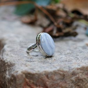 Shop Blue Lace Agate Rings! Natural Blue Lace Agate Ring, 925 Solid Sterling Silver Ring, 15x21mm Oval Gemstone Ring, Silver Ring, Boho Ring, Handmade Ring, Size 8 Us   Natural genuine Blue Lace Agate rings, simple unique handcrafted gemstone rings. #rings #jewelry #shopping #gift #handmade #fashion #style #affiliate #ad