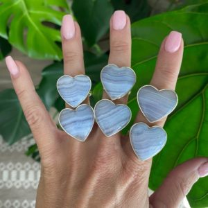 Shop Blue Lace Agate Shapes! Blue lace agate adjustable ring, heart ring, silver ring   Natural genuine stones & crystals in various shapes & sizes. Buy raw cut, tumbled, or polished gemstones for making jewelry or crystal healing energy vibration raising reiki stones. #crystals #gemstones #crystalhealing #crystalsandgemstones #energyhealing #affiliate #ad