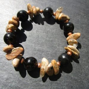 Shop Jet Bracelets! brown Chalcedony Lignite / Jet Bracelet   Natural genuine Jet bracelets. Buy crystal jewelry, handmade handcrafted artisan jewelry for women.  Unique handmade gift ideas. #jewelry #beadedbracelets #beadedjewelry #gift #shopping #handmadejewelry #fashion #style #product #bracelets #affiliate #ad