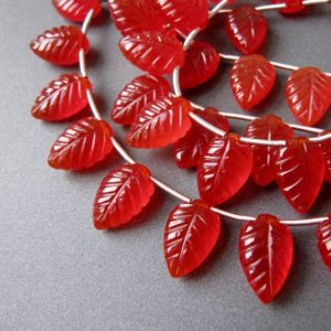 Carnelian Carved Leaves • 14x9mm • Aaa Hand Carving • Chubby Leaf Briolettes • Red • Matching Pairs Available | Natural genuine other-shape Gemstone beads for beading and jewelry making.  #jewelry #beads #beadedjewelry #diyjewelry #jewelrymaking #beadstore #beading #affiliate #ad