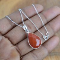 Red Carnelian 925 Sterling Silver Pear Shape Gemstone Faceted Jewelry Pendant W / Or W / o Chain ~ Handmade Jewelry ~ Gift For Christmas | Natural genuine Gemstone jewelry. Buy crystal jewelry, handmade handcrafted artisan jewelry for women.  Unique handmade gift ideas. #jewelry #beadedjewelry #beadedjewelry #gift #shopping #handmadejewelry #fashion #style #product #jewelry #affiliate #ad