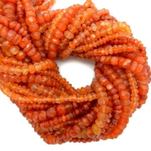 Carnelian Rondelle Beads– ONE (1) STRAND of Gorgeous Orange Beads (S107B4-02)   Natural genuine rondelle Carnelian beads for beading and jewelry making.  #jewelry #beads #beadedjewelry #diyjewelry #jewelrymaking #beadstore #beading #affiliate #ad