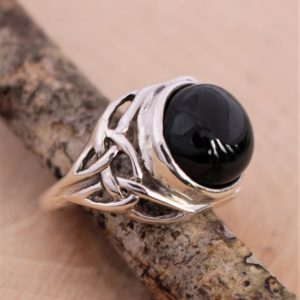 Shop Black Tourmaline Rings! Celtic, Black Tourmaline, Ring, Triquetra Series, No, Pentagram, Sterling Silver, AAA, RC199.BL.tourm, Please tell me your size.   Natural genuine Black Tourmaline rings, simple unique handcrafted gemstone rings. #rings #jewelry #shopping #gift #handmade #fashion #style #affiliate #ad
