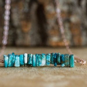 Chrysocolla Bar Necklace – Blue Stone Necklace – Chakra Necklace – Gift For Her – Gemstone Necklace – Healing Crystal Jewelry | Natural genuine Chrysocolla necklaces. Buy crystal jewelry, handmade handcrafted artisan jewelry for women.  Unique handmade gift ideas. #jewelry #beadednecklaces #beadedjewelry #gift #shopping #handmadejewelry #fashion #style #product #necklaces #affiliate #ad