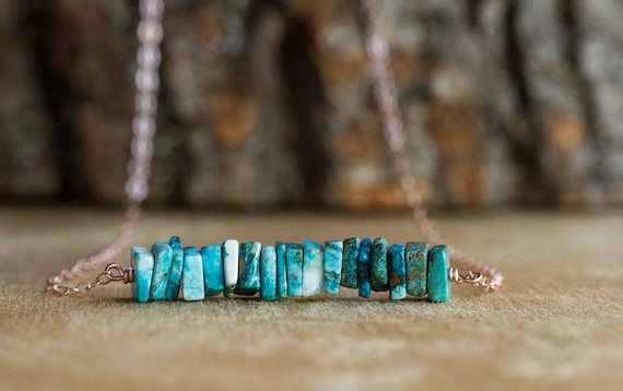 Chrysocolla Bar Necklace - Blue Stone Necklace - Chakra Necklace - Gift For Her - Gemstone Necklace - Healing Crystal Jewelry