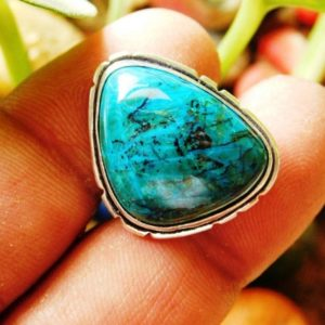 Shop Chrysocolla Rings! Chrysocolla Ring, Sterling silver ring, Chrysocolla Gemstone Ring,  Artisan Ring, men's ring, gift ring, handmade ring,(R-109)   Natural genuine Chrysocolla rings, simple unique handcrafted gemstone rings. #rings #jewelry #shopping #gift #handmade #fashion #style #affiliate #ad