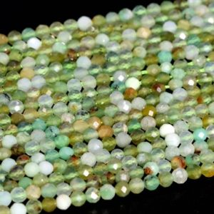 """Shop Chrysoprase Faceted Beads! 2MM Chrysoprase / Australian Jade Beads A Genuine Natural Gemstone Full Strand Faceted Round Loose Beads 15"""" Bulk Lot Options (107697-2508) 