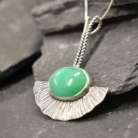 Long Chrysoprase Pendant, Statement Pendant, Bohemian Pendant, Natural Chrysoprase, Solid Silver Pendant, Boho Pendant, Vintage Necklace | Natural genuine Gemstone jewelry. Buy crystal jewelry, handmade handcrafted artisan jewelry for women.  Unique handmade gift ideas. #jewelry #beadedjewelry #beadedjewelry #gift #shopping #handmadejewelry #fashion #style #product #jewelry #affiliate #ad