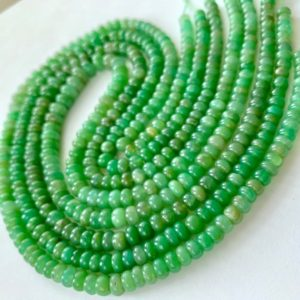 Shaded Chrysoprase smooth polished rondelles | Natural genuine rondelle Chrysoprase beads for beading and jewelry making.  #jewelry #beads #beadedjewelry #diyjewelry #jewelrymaking #beadstore #beading #affiliate #ad