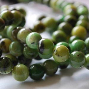 """Shop Chrysoprase Beads! High Quality Grade A Natural Chrysoprase (green) Semi-precious Gemstone Round Beads – 4mm, 6mm, 8mm, 10mm Sizes – Approx 15.5"""" Strand   Natural genuine beads Chrysoprase beads for beading and jewelry making.  #jewelry #beads #beadedjewelry #diyjewelry #jewelrymaking #beadstore #beading #affiliate #ad"""