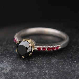 Black Diamond Engagement Ring with Rubies – 18K Gold Diamond Engagement Ring – Solitaire Diamond Ring – Handmade Engagement  FREE SHIPPING   Natural genuine Array rings, simple unique alternative gemstone engagement rings. #rings #jewelry #bridal #wedding #jewelryaccessories #engagementrings #weddingideas #affiliate #ad