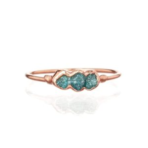 Triple Raw Blue Diamond Ring, Rose Gold Ring, Raw Diamond Ring, Gemstone Ring, Raw Stone Ring, April Birthstone Ring, Blue Gift for Women | Natural genuine Diamond rings, simple unique handcrafted gemstone rings. #rings #jewelry #shopping #gift #handmade #fashion #style #affiliate #ad