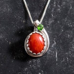 Shop Diopside Pendants! Red Coral Necklace, Natural Red Coral, Coral Pendant, Drop Necklace, Layering Necklace, Red Stone Necklace, Solid Silver, Chrome Diopside | Natural genuine Diopside pendants. Buy crystal jewelry, handmade handcrafted artisan jewelry for women.  Unique handmade gift ideas. #jewelry #beadedpendants #beadedjewelry #gift #shopping #handmadejewelry #fashion #style #product #pendants #affiliate #ad