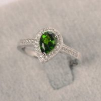 Natural Diopside Ring In Silver Pear Cut Halo Engagement Ring For Women | Natural genuine Gemstone jewelry. Buy handcrafted artisan wedding jewelry.  Unique handmade bridal jewelry gift ideas. #jewelry #beadedjewelry #gift #crystaljewelry #shopping #handmadejewelry #wedding #bridal #jewelry #affiliate #ad