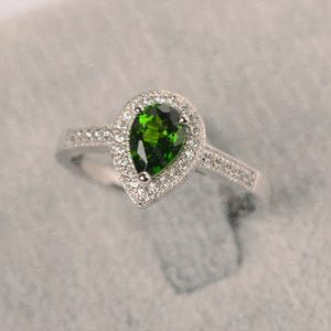 Shop Diopside Rings! Natural Diopside Ring In Silver Pear Cut Halo Engagement Ring For Women   Natural genuine Diopside rings, simple unique alternative gemstone engagement rings. #rings #jewelry #bridal #wedding #jewelryaccessories #engagementrings #weddingideas #affiliate #ad