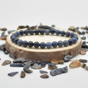 """Shop Dumortierite Bracelets! Natural Dumortierite Semi-precious Gemstone Round Beads Sample Strand / Bracelet – 6mm Or 8mm Size – Approx 7.5"""" 