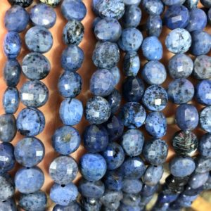 Shop Dumortierite Beads! Blue Dumortierite Faceted Beads, Natural Gemstone Beads, Coin Round Stone Beads 8mm 10mm 15'' | Natural genuine faceted Dumortierite beads for beading and jewelry making.  #jewelry #beads #beadedjewelry #diyjewelry #jewelrymaking #beadstore #beading #affiliate #ad