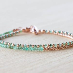 Shop Emerald Bracelets! Emerald Bracelet Set, Sterling Silver Or Rose Gold Filled, Ultra Delicate Natural Green Gemstone Jewelry, May Birthstone   Natural genuine Emerald bracelets. Buy crystal jewelry, handmade handcrafted artisan jewelry for women.  Unique handmade gift ideas. #jewelry #beadedbracelets #beadedjewelry #gift #shopping #handmadejewelry #fashion #style #product #bracelets #affiliate #ad