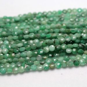 Shop Emerald Faceted Beads! Emerald Faceted Beads, Natural Gemstone Beads, Coin Round Stone Beads 4mm 15'' | Natural genuine faceted Emerald beads for beading and jewelry making.  #jewelry #beads #beadedjewelry #diyjewelry #jewelrymaking #beadstore #beading #affiliate #ad
