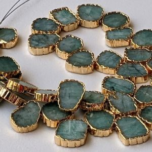 Shop Emerald Bead Shapes! 12-13mm Emerald Slice Beads, Electroplated Light Emerald Beads, Emerald For Necklace, Natural Emerald Slices (6in To 12in Options) – Pdg307 | Natural genuine other-shape Emerald beads for beading and jewelry making.  #jewelry #beads #beadedjewelry #diyjewelry #jewelrymaking #beadstore #beading #affiliate #ad