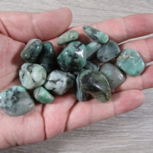 Shop Emerald Stones & Crystals! Emerald Small Tumbled Stone T410 | Natural genuine stones & crystals in various shapes & sizes. Buy raw cut, tumbled, or polished gemstones for making jewelry or crystal healing energy vibration raising reiki stones. #crystals #gemstones #crystalhealing #crystalsandgemstones #energyhealing #affiliate #ad
