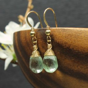 Shop Fluorite Earrings! Green Fluorite Earrings Gold Filled wire wrapped natural gemstone simple minimalist dainty dangle drops birthday Mother's Day gift 2306   Natural genuine Fluorite earrings. Buy crystal jewelry, handmade handcrafted artisan jewelry for women.  Unique handmade gift ideas. #jewelry #beadedearrings #beadedjewelry #gift #shopping #handmadejewelry #fashion #style #product #earrings #affiliate #ad