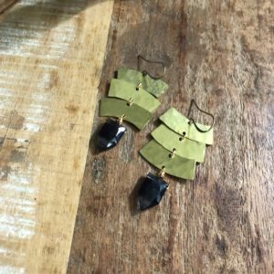 Shop Fluorite Earrings! Hammered brass and fluorite earrings   Natural genuine Fluorite earrings. Buy crystal jewelry, handmade handcrafted artisan jewelry for women.  Unique handmade gift ideas. #jewelry #beadedearrings #beadedjewelry #gift #shopping #handmadejewelry #fashion #style #product #earrings #affiliate #ad