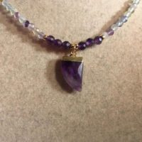 Fluorite Necklace – Amethyst Horn Pendant – Purple Green Gemstone Jewellery – Gold Jewelry – Multicolor   Natural genuine Gemstone jewelry. Buy crystal jewelry, handmade handcrafted artisan jewelry for women.  Unique handmade gift ideas. #jewelry #beadedjewelry #beadedjewelry #gift #shopping #handmadejewelry #fashion #style #product #jewelry #affiliate #ad