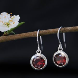 Red Garnet Drop Earrings – Garnet Round Dangle Earrings – Red Gemstone Earrings | Natural genuine Array jewelry. Buy crystal jewelry, handmade handcrafted artisan jewelry for women.  Unique handmade gift ideas. #jewelry #beadedjewelry #beadedjewelry #gift #shopping #handmadejewelry #fashion #style #product #jewelry #affiliate #ad