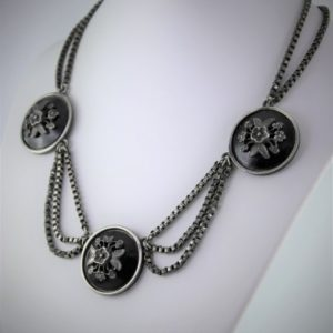 Georgian Victorian Gothic Silver Book Chain Floral Black Whitby Jet Mourning Festoon Necklace 1800's | Natural genuine Jet necklaces. Buy crystal jewelry, handmade handcrafted artisan jewelry for women.  Unique handmade gift ideas. #jewelry #beadednecklaces #beadedjewelry #gift #shopping #handmadejewelry #fashion #style #product #necklaces #affiliate #ad