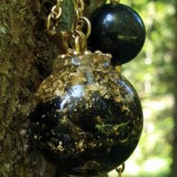 Necklace Sphere 30 Mm Golden Obsidian, Gold Leaf, Brass | Natural genuine Gemstone jewelry. Buy crystal jewelry, handmade handcrafted artisan jewelry for women.  Unique handmade gift ideas. #jewelry #beadedjewelry #beadedjewelry #gift #shopping #handmadejewelry #fashion #style #product #jewelry #affiliate #ad