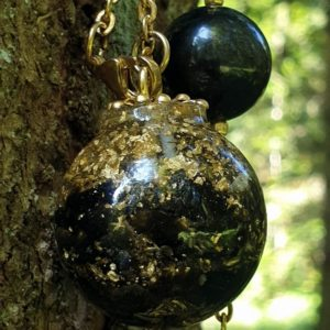 Shop Golden Obsidian Necklaces! Necklace sphere 30 mm golden obsidian, gold leaf, brass   Natural genuine Golden Obsidian necklaces. Buy crystal jewelry, handmade handcrafted artisan jewelry for women.  Unique handmade gift ideas. #jewelry #beadednecklaces #beadedjewelry #gift #shopping #handmadejewelry #fashion #style #product #necklaces #affiliate #ad