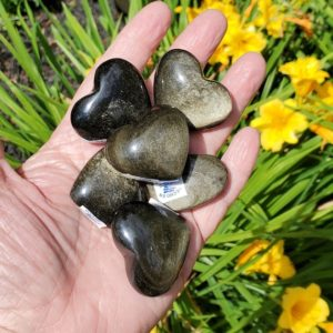 Shop Golden Obsidian Stones & Crystals! Black Obsidian Small Hearts – Black Obsidian – Obsidian Hearts – Gold Sheen Obsidian – Pocket Stones – Protection Stone – Grounding Stone | Natural genuine stones & crystals in various shapes & sizes. Buy raw cut, tumbled, or polished gemstones for making jewelry or crystal healing energy vibration raising reiki stones. #crystals #gemstones #crystalhealing #crystalsandgemstones #energyhealing #affiliate #ad
