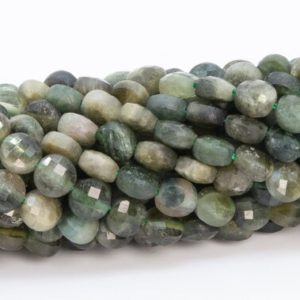 """Shop Green Tourmaline Beads! 4MM Green Tourmaline Beads Faceted Flat Round Button Grade AA Genuine Natural Gemstone Loose Beads 15"""" / 7.5"""" Bulk Lot Options (111678) 